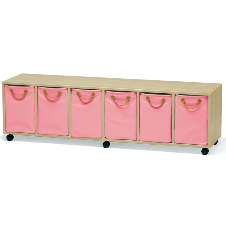 great storage unit for a playroom or under a child's bed