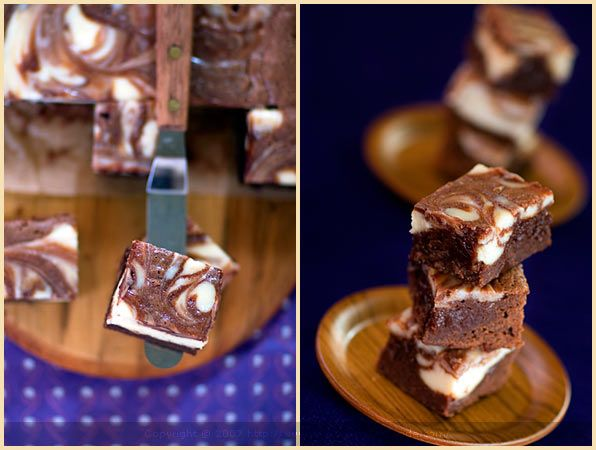 Cheesecake-marbled brownies! Haven't made these in ages...