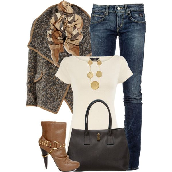 """Checked Scarf"" by melindatg on Polyvore"
