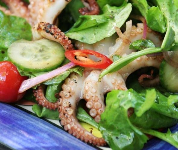 Char-grilled Octopus Salad - to tell if the octopus is tender feel the ...