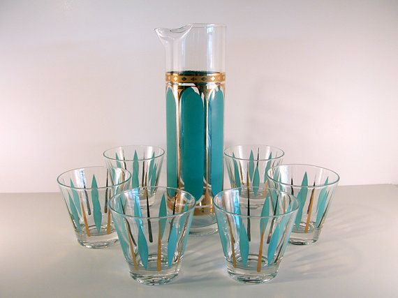 Mad Men Martini Decanter and Glasses in Turquoise by SproutVintage, $ ...