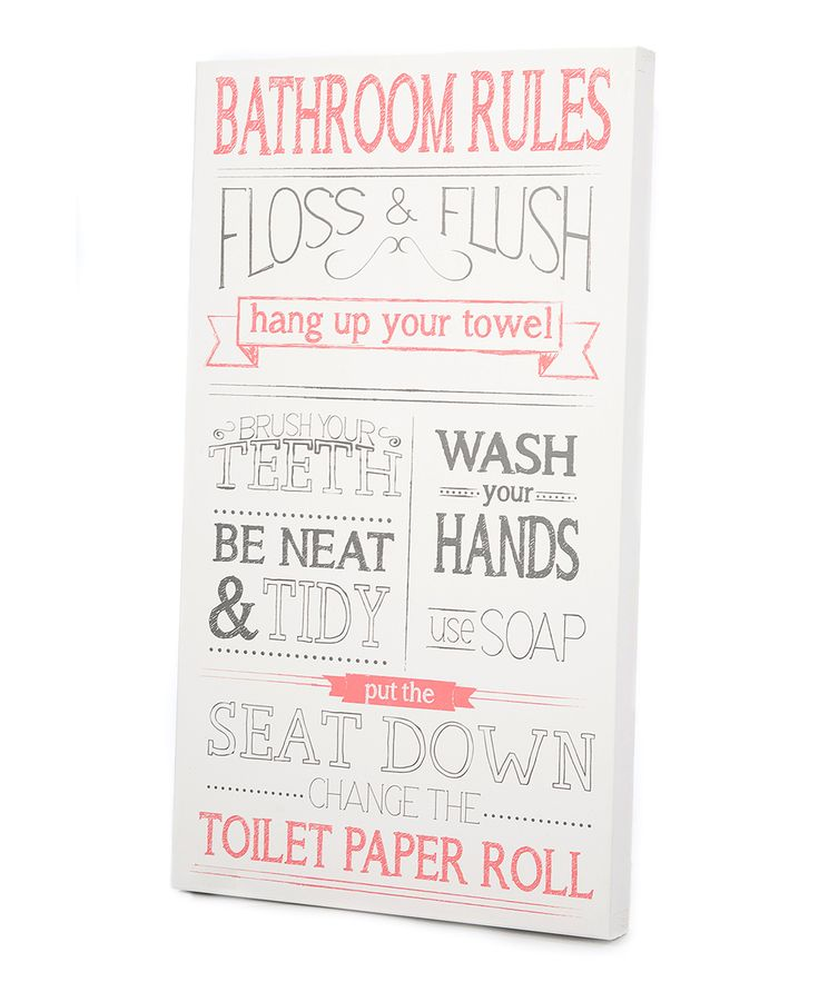 Pink gray 39 bathroom rules 39 wall art for Bathroom decor rules