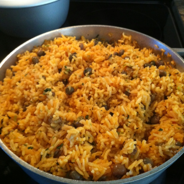 Puerto Rican Rice! Arroz con gandules, rice and pigeon peas.