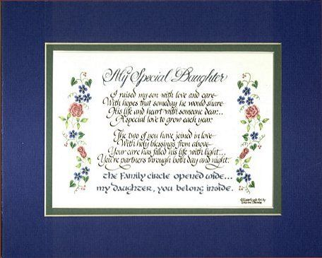 Special Daughter in Law Poem my special daughter a precious gift for ...
