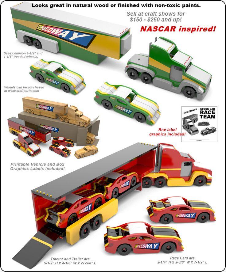 Speedway Stock Car Race Team (NASCAR inspired) Wood Toy Plan Set