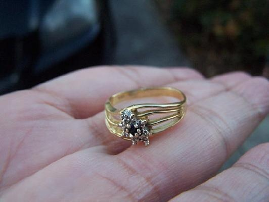 low price 14K 14 K SOLID YELLOW GOLD THREE-STONE Diamonds RING 3.3 GR