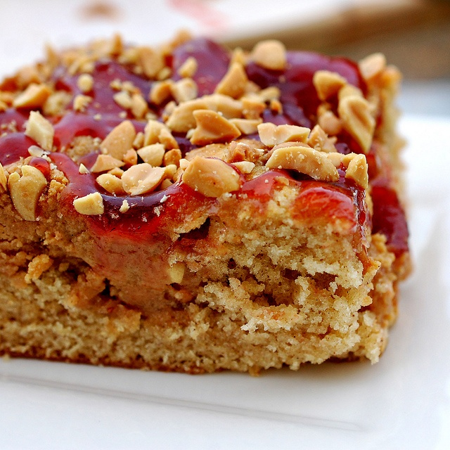 Peanut butter and jelly snack cake by bourbonnatrixbakes