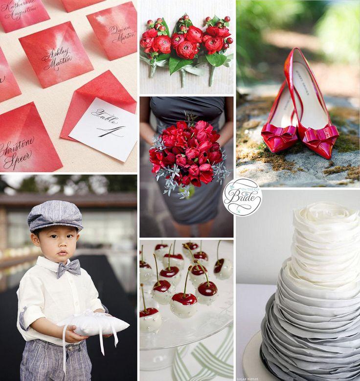 Red and gray wedding inspiration via o n the go bride wedding color