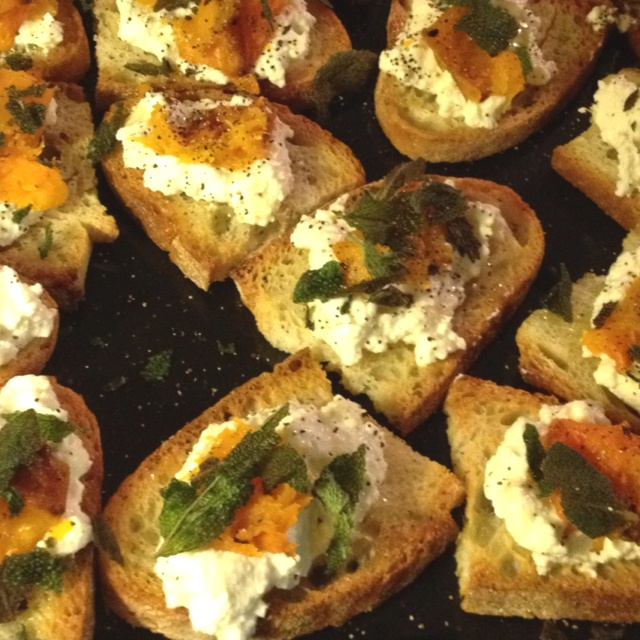 ... with butternut squash, ricotta cheese and toasted sage leaves