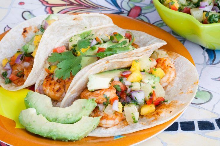 Shrimp Tacos with Pineapple Mango Salsa. The Mango Salsa looks so easy ...