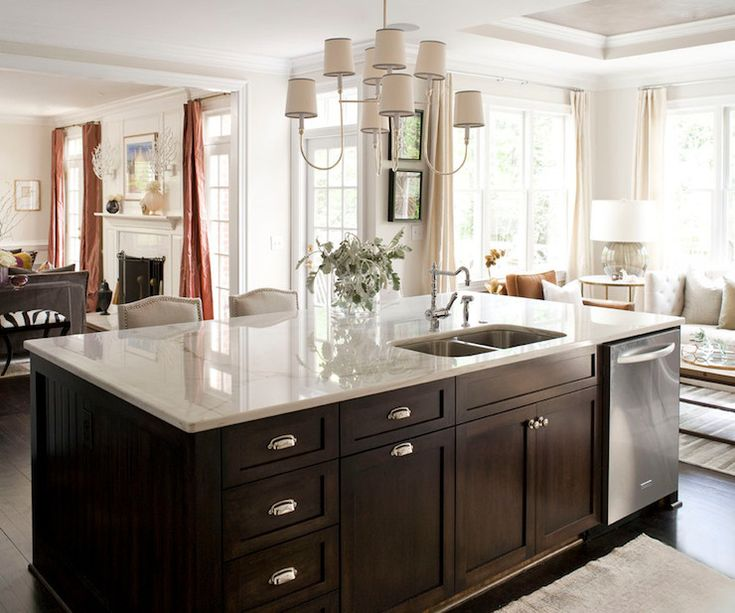 , dark hardwood floors, chocolate brown kitchen island, dark wo