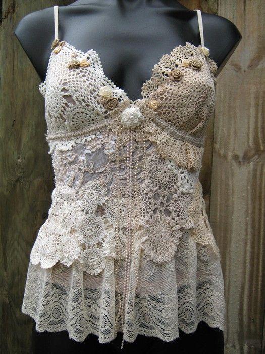 Vintage crochet top with diagrams