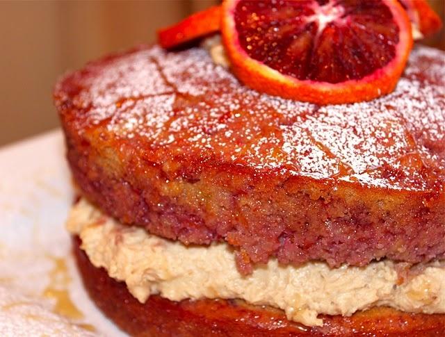 Blood orange polenta cake with orange marscarpone filling.....mmmmm