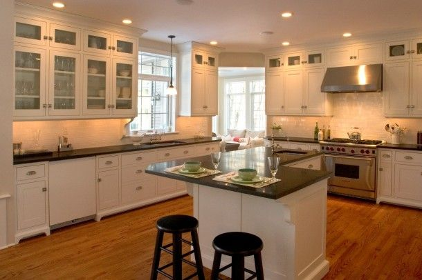 Kitchen dark counters light floors for home renos for Add on kitchen cabinets