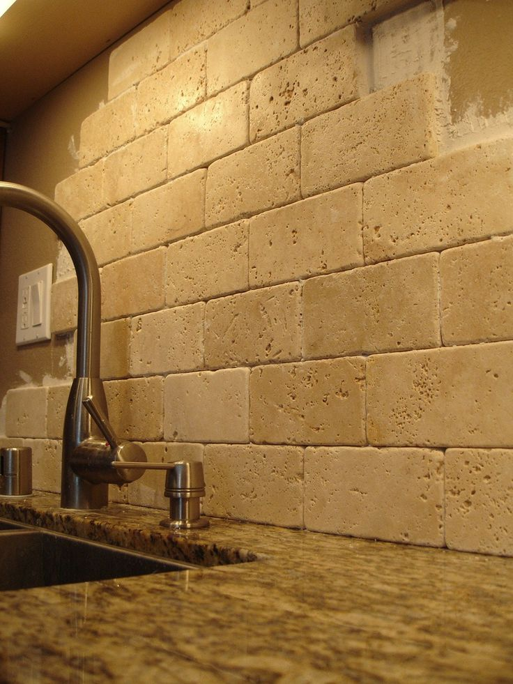 tumbled travertine subway tile backsplash just what i want kitchen