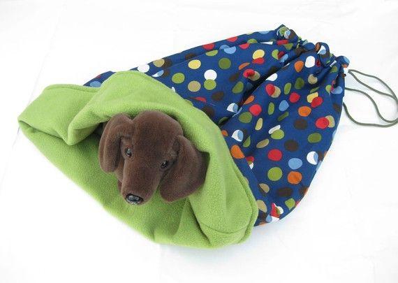 pet bed sleeping bag snuggle sack cozy fleece blue