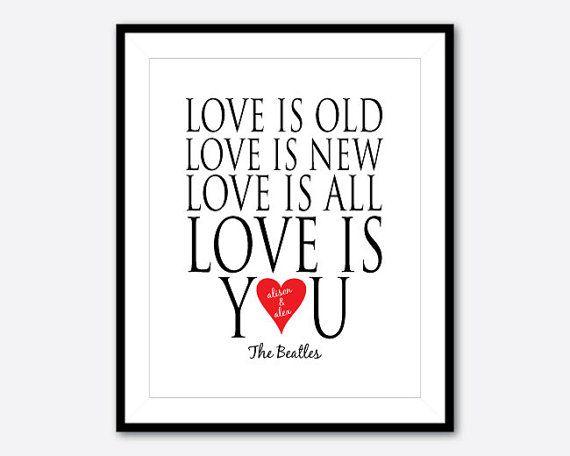 ... Beatles - 8 10 print - Wedding gift -ANniversary Gift - typography