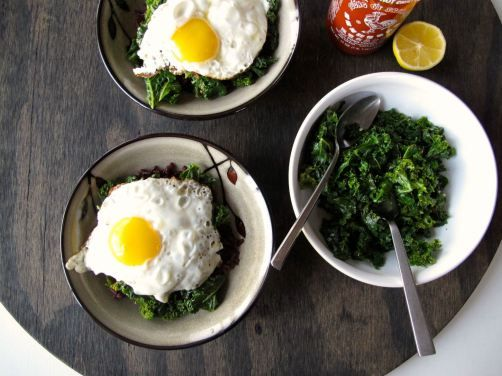 Kale and Fried (or Poached) Eggs over Rice