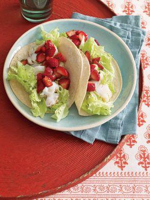 Fish Tacos with Strawberry Salsa Recipe at Epicurious.com