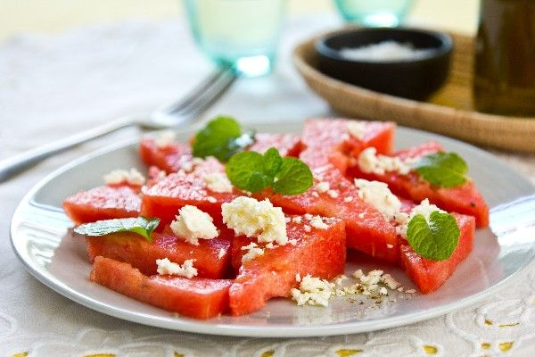 watermelon salad with mint leaves amp feta cheese # recipe cool amp ...