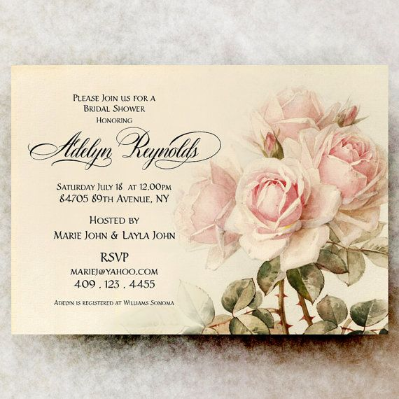 Bridal Shower Invitation - Shabby Chic Bridal Shower, roses bridal ...