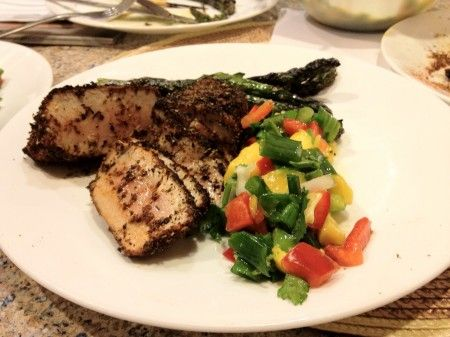 Blackened ahi tuna steaks with grilled asparagus and homemade mango ...