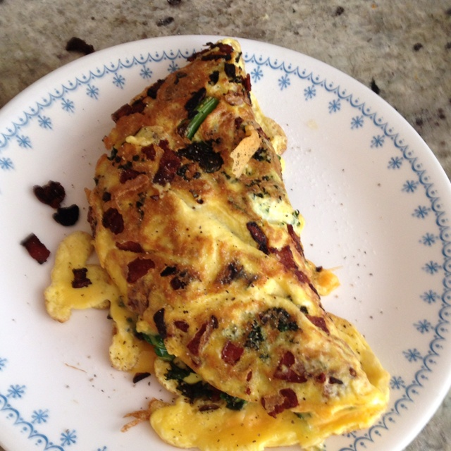Omelette with bacon, garlic, kale, and fat-free cheddar. So good!