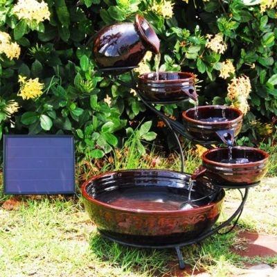 outdoor ceramic cascade solar water fountain dark brown