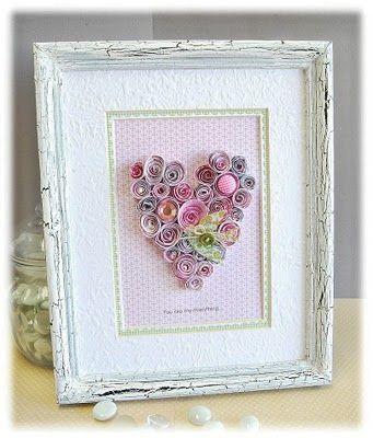 paper rolled heart framed