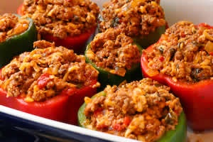 Stuffed Peppers with Turkey Italian Sausage, Ground Beef, and ...