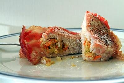 """Apple Stuffed/Bacon Wrapped Chops w/ Pumpkin Fennel Sauce & """"Flirty ..."""