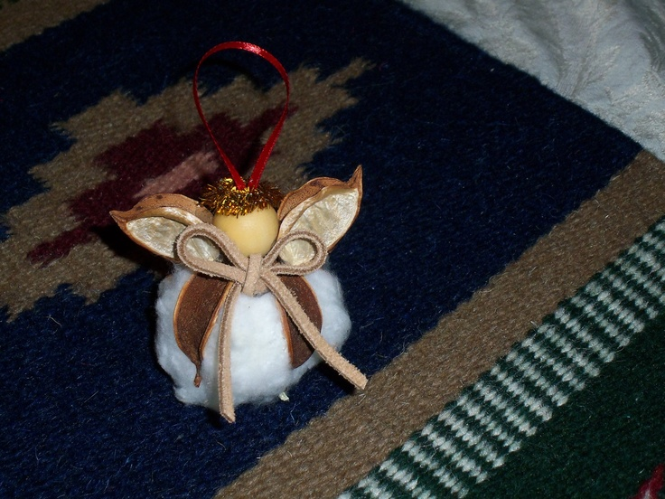 Cotton Boll  Angel Ornament.