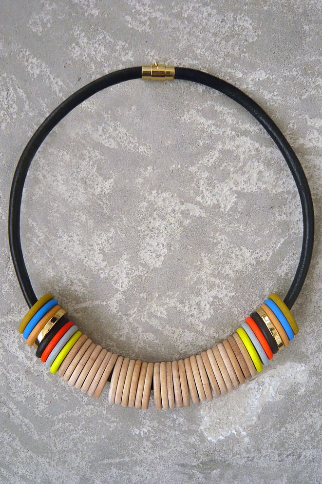 Julie Thevenot Razzen Short Necklace    Leather, Wood, Metal    Handmade in NYC    $168.00