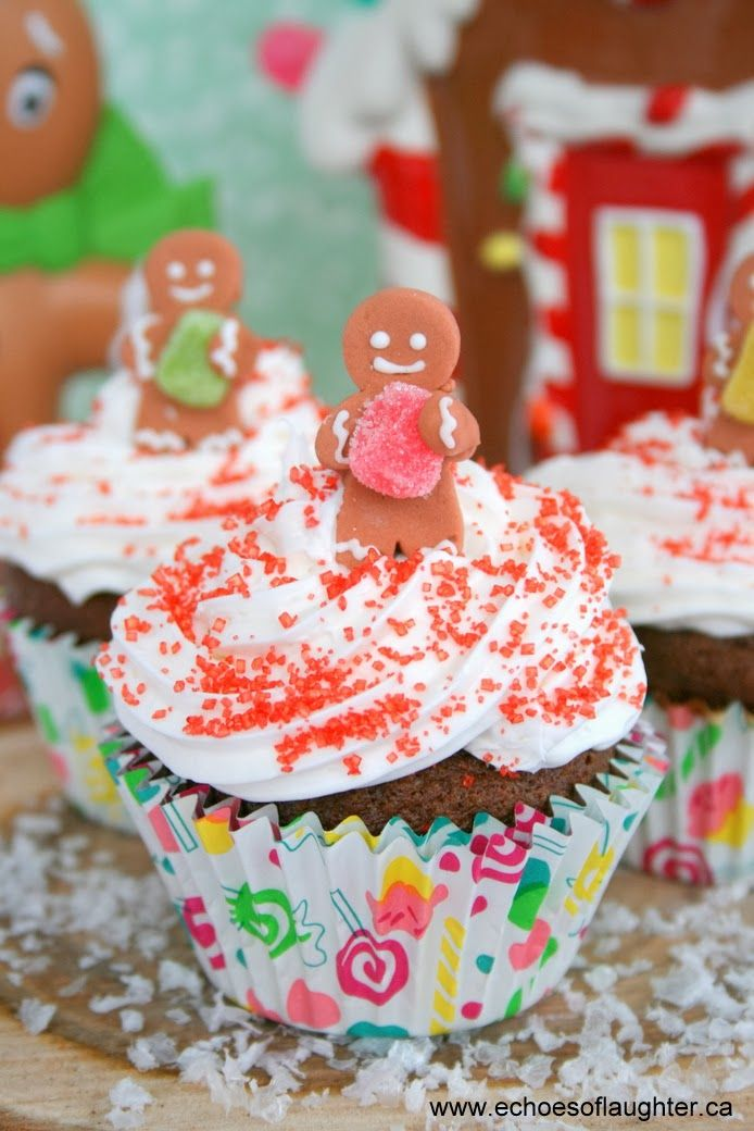 Gingerbread cupcakes with cream cheese frosting, by @Angie @Echoes of ...