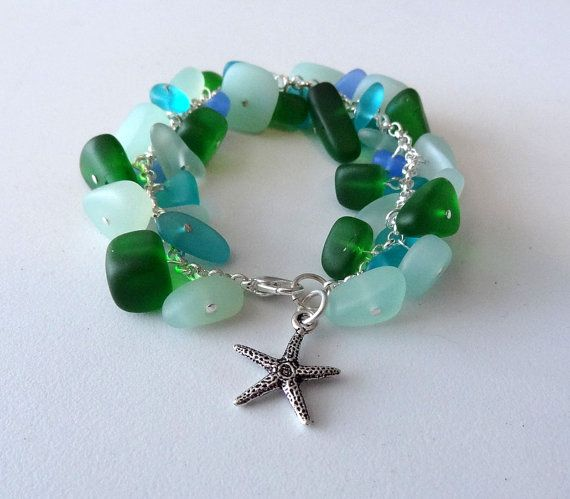 Sea glass pebble charm bracelet with starfish charm seafoam green