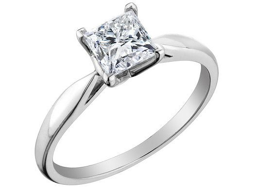 Princess Cut Solitaire Diamond Engagement Ring 1 2 Carat ctw in 14K…