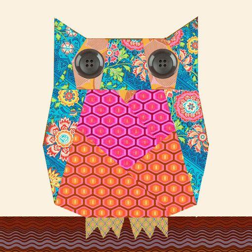 Owl paper pieced quilt block pattern PDF
