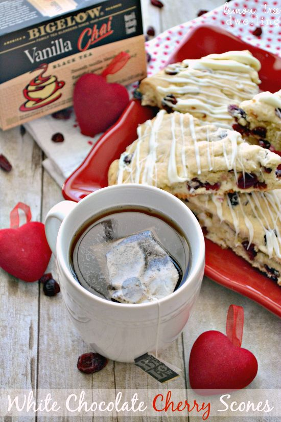 treat to enjoy with a cup of BigelowTea! White Chocolate Cherry Scones ...