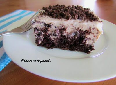 Puddin poke cake...made with fudge cake mix and oreo pudding