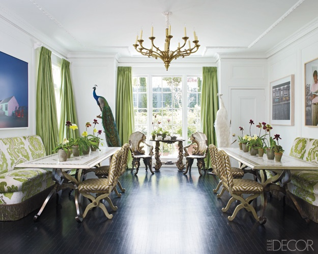 A peacock and double dining tables cocoon pinterest for Peacock dining room ideas