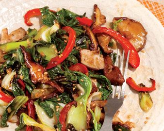 Baby Bok Choy with Shiitake Mushrooms and Red Bell Peppers