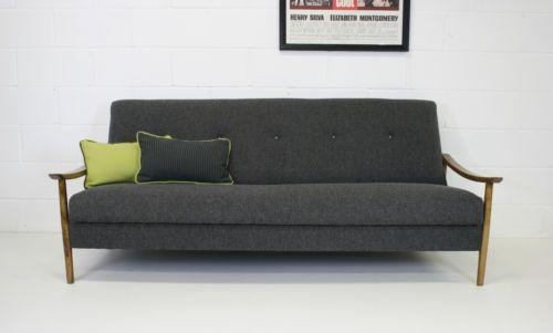 Restored retro vintage 60s wooden framed sofa bed for Sofa bed 60s