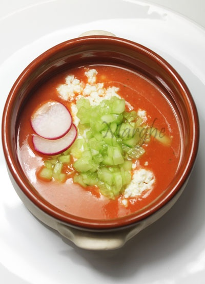 cold tomatoes soup with feta and cucumber