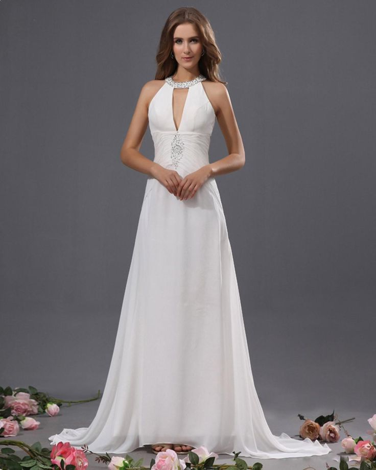 halter sheath wedding dress