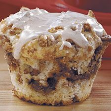 Simply Sinful Muffins by king arthur flour: Featuring a luscious center of moist, rich cinnamon filling. Just as good without the icing with the streusel topping.