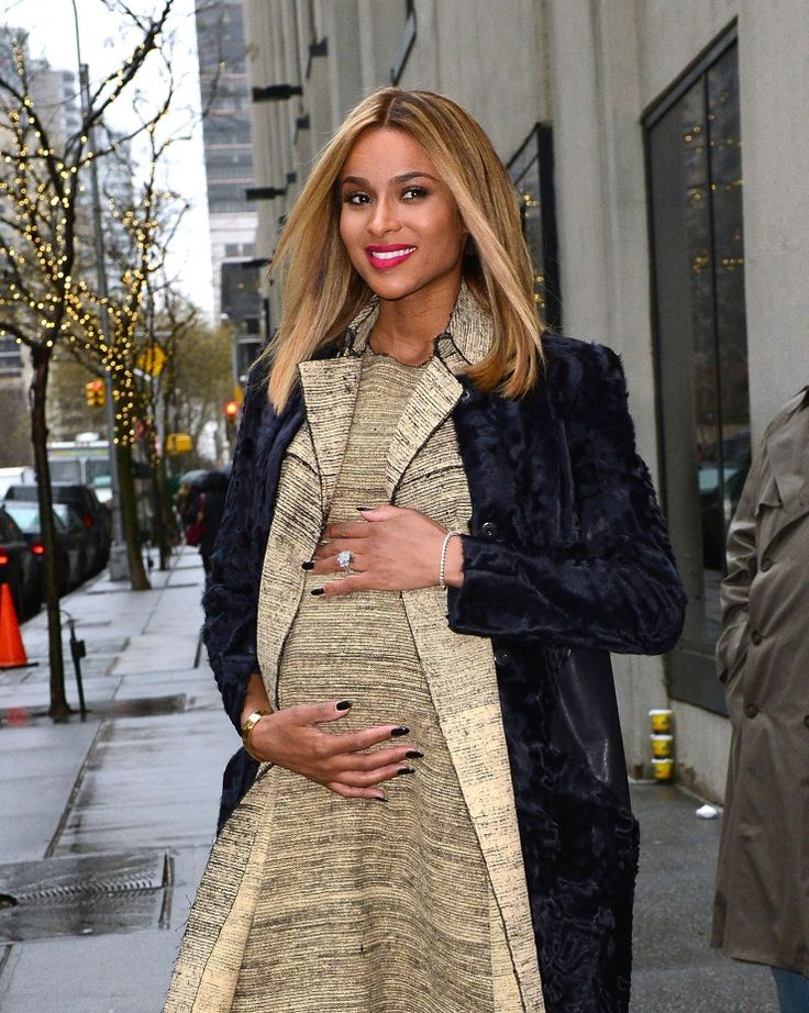 """We're having a baby, baby!"" Mommy-to-be Ciara shows off her baby bump on Jan. 14 in New York"