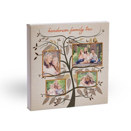 Hang your family tree for all to see! Beloved Branches: 10x10 Gallery Wrapped Canvas Canvas Art in rust orange. #holiday #gifts