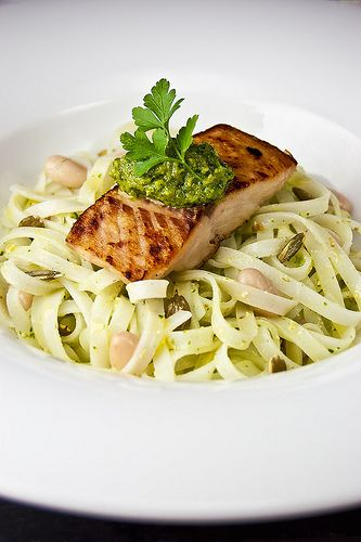 Recipe Taster: Pumpkin-seeds pesto over Salmon, rice-noodles and white ...