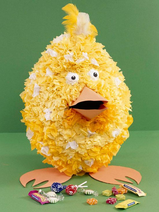 Chick Pinata -     Kids will have a blast creating (and breaking) this adorable pinata. Made from newspaper strips soaked in a flour-and-water mixture, this Easter craft is safe and simple for kids to make. Let them fill it with their favorite candies.
