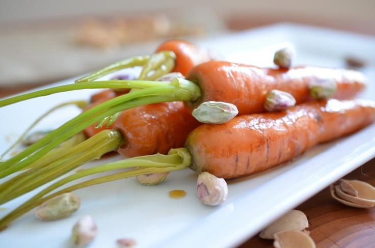 maple bourbon glazed carrots with pistachios and sea salt